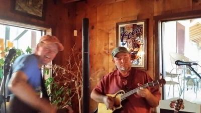 Patric Klausen and I at La Guna Vista saloon in Eagle Nest New Mexico