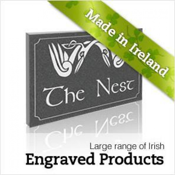 Here is a link to a business in Ireland. They make special engraved plaques, using only Irish stone. Some of their products include decorative address numbers, prayer stones, testimonials, and memorial stones. Prices are extremely reasonable. You should