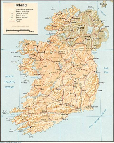 Eire and Northern Ireland - political, rail, road