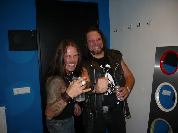 <p>Backstage with Richard Holmgren, drummer of WOLF at the MMM3 festival in Tilburg, Holland. He is a guest vocalist on my &quot;Death in the Family&quot; album and did a great job on both songs, &quot;Venom and Piss&quot; and &quot;Bow Down to the Queen&