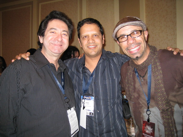 Richie Garcia, Mark, and Oscar Cartaya after performance at LP party NAMM show