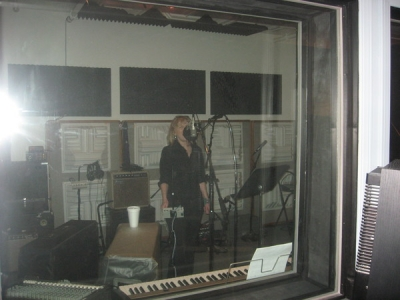 <p> KC recording vocal tracks</p>