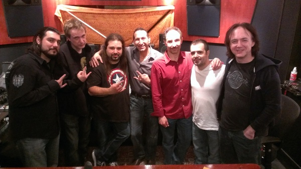 Catalano and friends at Transient Sound Chicago after a long day of recording