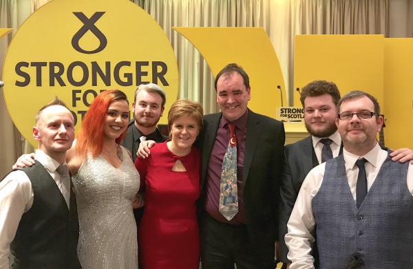 The band with FM Nicola Sturgeon