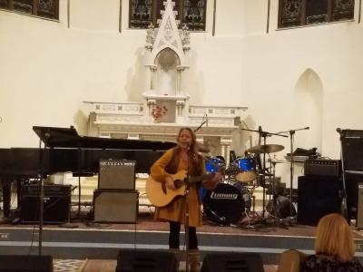 Sound check at Sacred Heart