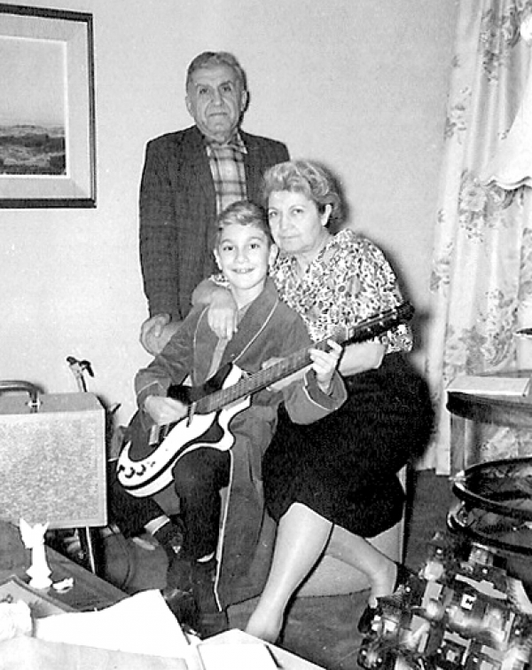 Christmas 1960 with my Grandparents Voskine and Dikran Kumjian and my first electric guitar