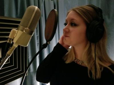 Lara doing a vocal in Glensider Studio