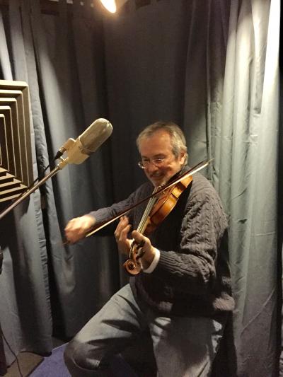 John Reynolds laying down some fiddle tracks in Glensider Studio