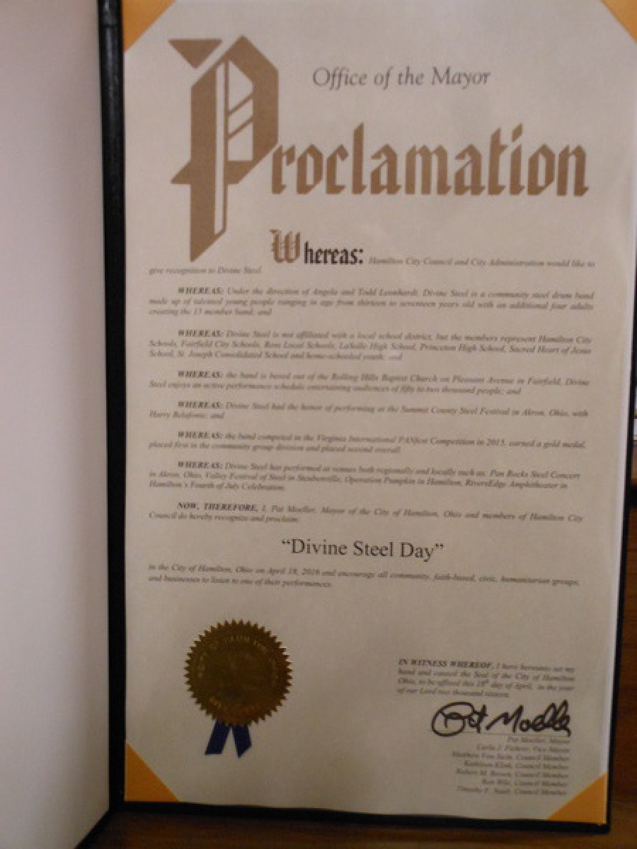 At our Premeir Concert, Mayor Moeller of Hamilton declared April 18, 2016 to be