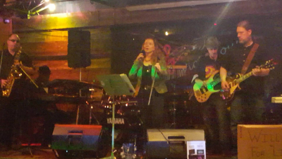 With SIX o stage in a local tavern
