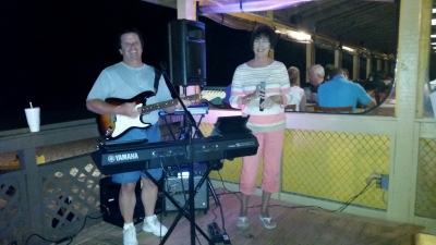 5-8-15 Bobbie Singing some tunes with me at Anglers. Everyone Always enjoy her singing