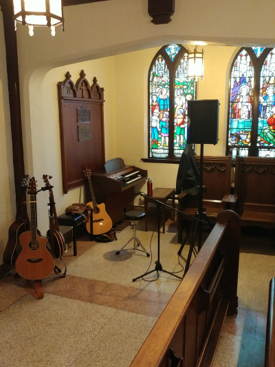 My set up inside an old chapel for a wedding.