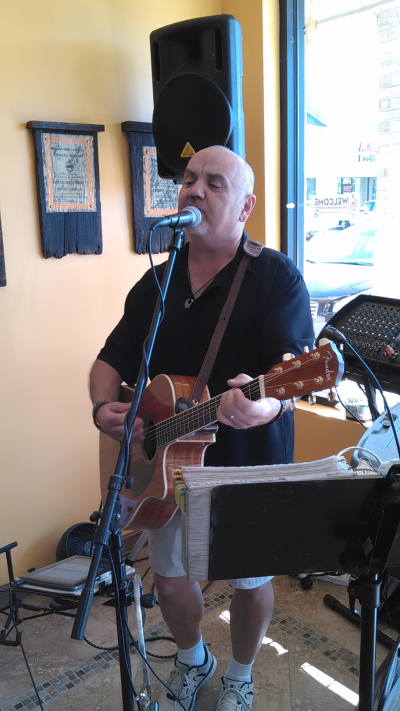 Performing at the Hey Cafe in Greenfield, IN.