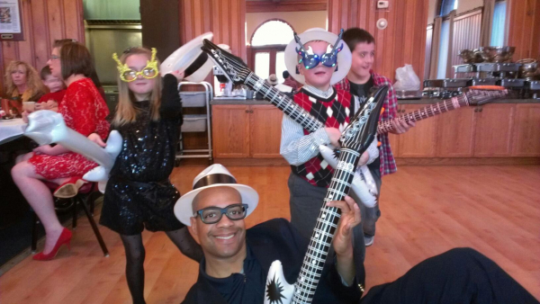 Guitar selfie with  at a kids party