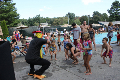 Chicken dance at the pool party