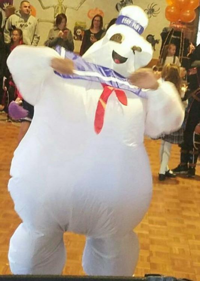 being marshmallow guy at a kid's Halloween party