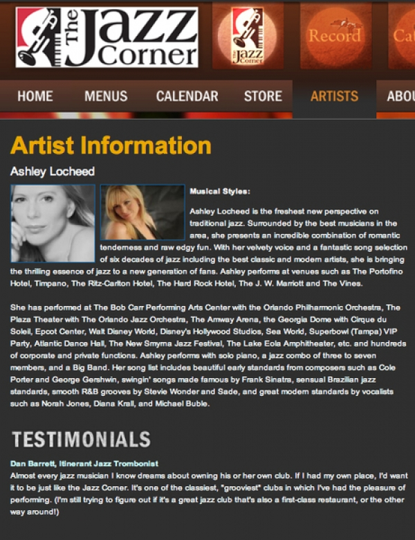 <p>&nbsp;The Jazz Corner - Ashley Locheed, artist page on site. &nbsp;</p> <p>Listed yearly in Downbeat Magazine's 150 Best Jazz Rooms in the world.</p>