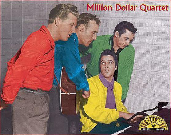 JERRY LEE LEWIS,  CARL PERKINS, JOHNNY CASH AND ELVIS PRESLEY in the SUN STUDIO in Memphis, 1958...Million $ talent???  Naaa try BILLION DOLLAR TALENT