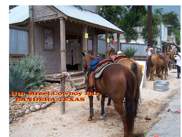 ONLY at 11th Street Cowboy Bar in Bandera....do PICKERHEADZ arrive horseback!
