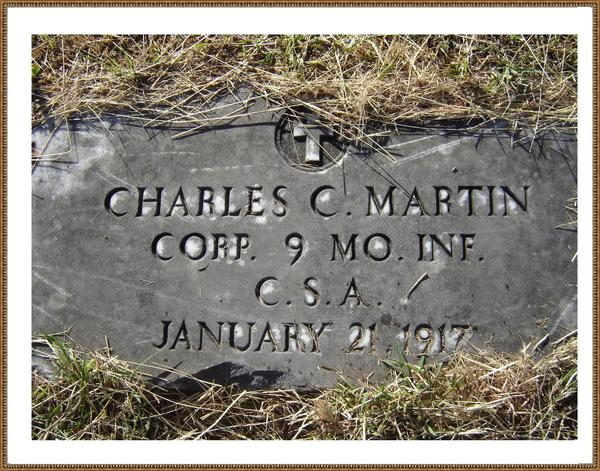 This is Wayne's Great Grandfathers grave in Palo Pinto, Texas. Wayne's Great Grandfather, Charles C Martin was assigned to Company C of the 9th Battalion, Missouri Sharpshooters, Confederate States of America. They fought in the Trans Mississippi campaign