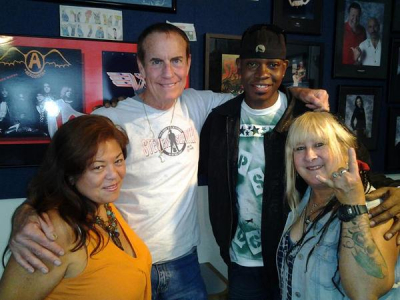 Nancy, Steven Seaweed, Art Cox, and Scarlett Dark at 107.7 The Bone Radio in San Francisco 8-9-13