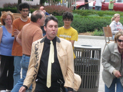 Spaghetti Man dances to Merge music at Partridge Creek Mall