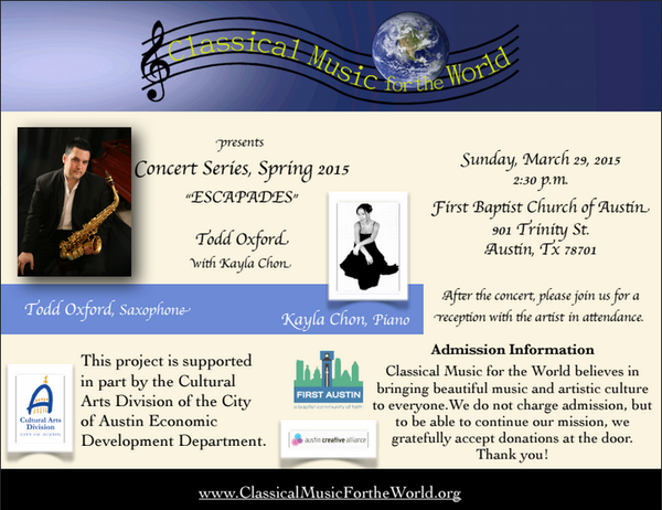 <p>Flyer&nbsp;of Classical Music for the World Concert Series</p> <p>2015</p>