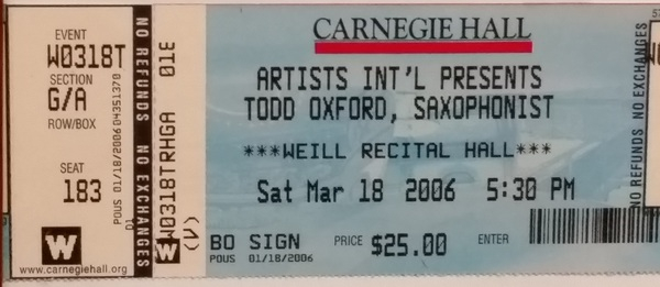<p>New York Solo Debut </p> <p>Carnegie Hall at Weill Recital Hall </p> <p>2006</p>