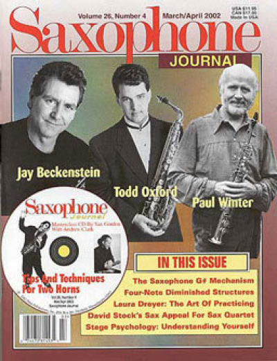<p>Saxophone Journal Front Cover Feature</p>
