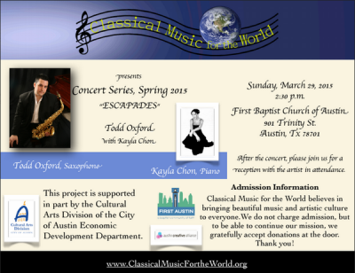<p>Flyer of Classical Music for the World Concert Series</p>