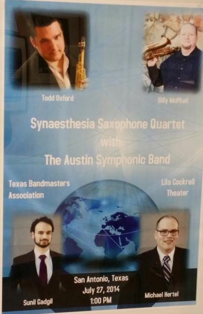 <p>Synaesthesia Saxophone Quartet TBA Poster </p> <p>2014 </p> <p>&nbsp;</p>