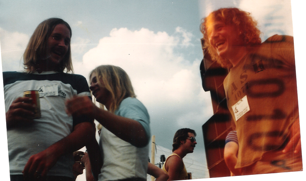 Archie, Billy and Robb back stage before the show at Spring Fest 82