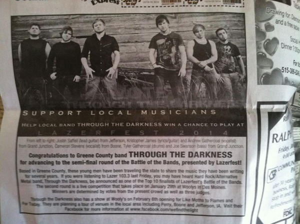 Newspaper Article for Lazerfest Battle of the Bands 2014