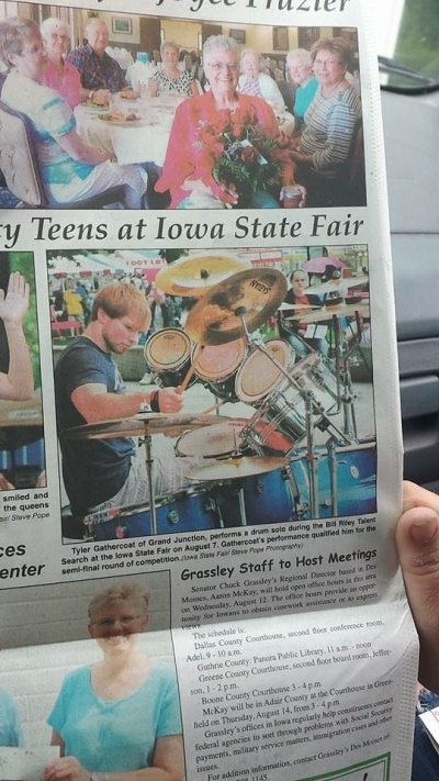 Tyler in the newspaper for participating in the Bill Riley Talent Search Summer 2014