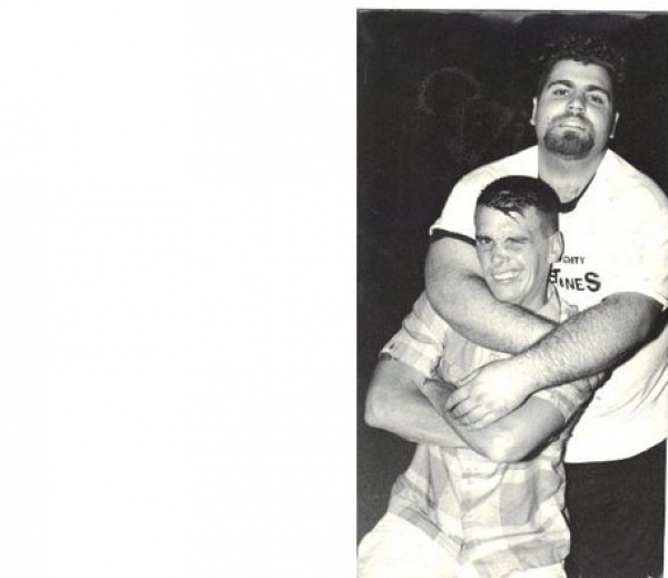 <p>&nbsp;A younger Albie w/Dicky Barret of the Mighty Mighty Bosstones.</p>