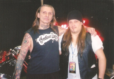 The late great Indian Larry and Mark Francis at Sturgis in the early 2000's