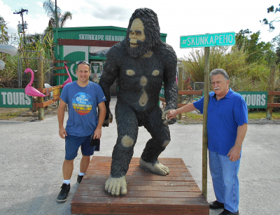 Mark & Dad in the Florida Everglades at the Skunk Ape Research Headquarters