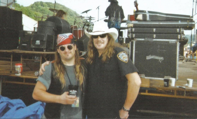 Mark Francis and Molly Hatchet singer Phil McCormack backstage West Virginia 2003