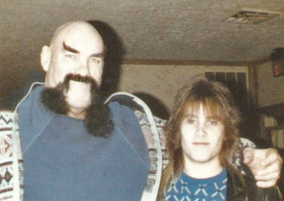 Mark Francis and his old buddy Ox Baker, pro wrestler from the WWE circa 1987