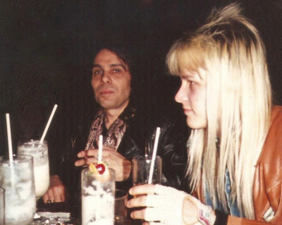 Mark Francis and Ronnie James Dio having dinner & drinks