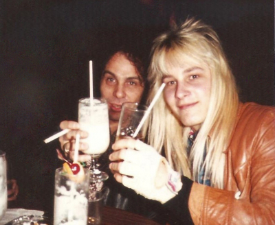 Mark Francis and Ronnie James Dio enjoying drinks after a really good meal