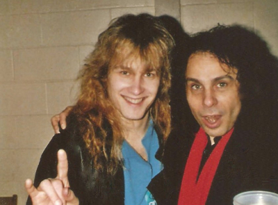 Mark Francis and Ronnie James Dio backstage at Joe Louis Arena in Detroit 1988