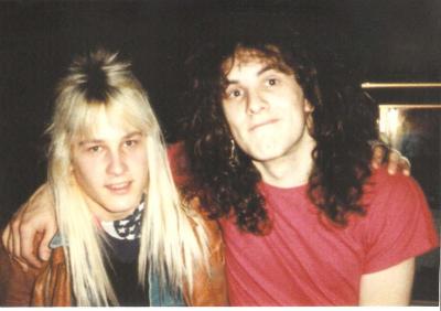Mark Francis and colleague Vivian Campbell of Dio, Whitesnake & Def Leppard circa 1983