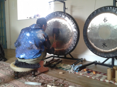Gong meister and Conscious Folk friend, Omar Aziz