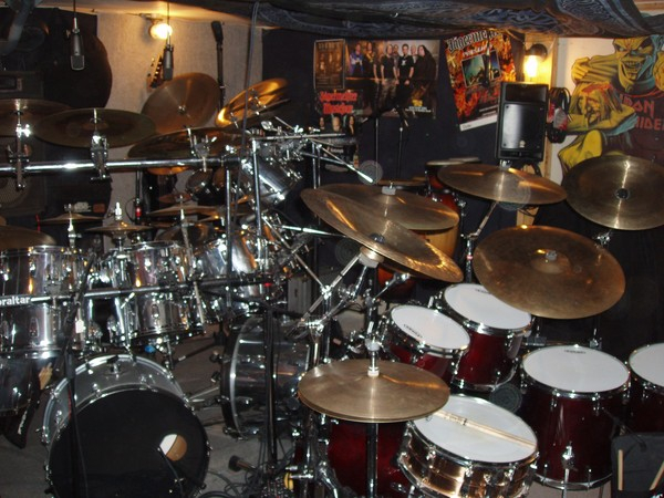 The Gretsch and the Ludwig's crammed in to the studio #2