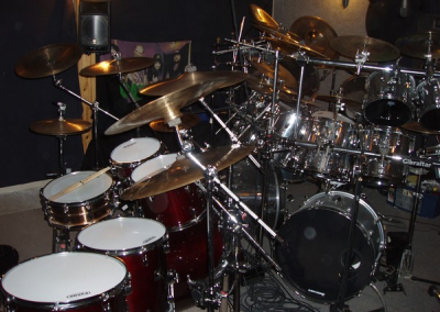 The Gretsch and the Ludwig's crammed in to the studio #1