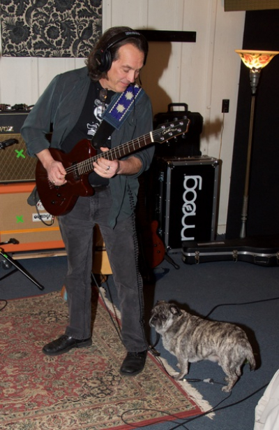 <p>&nbsp;Denny and his buddy Burger laying down some tracks at the golden Mallard studio...Photo by David Cory</p>