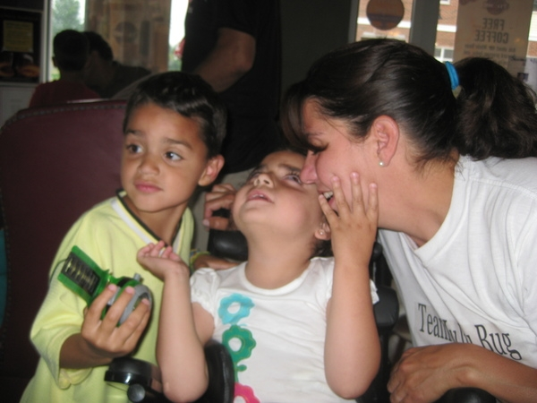 Jaden, Juju and Millie loving each other.  Juju can not see but she heard our music and felt our love!