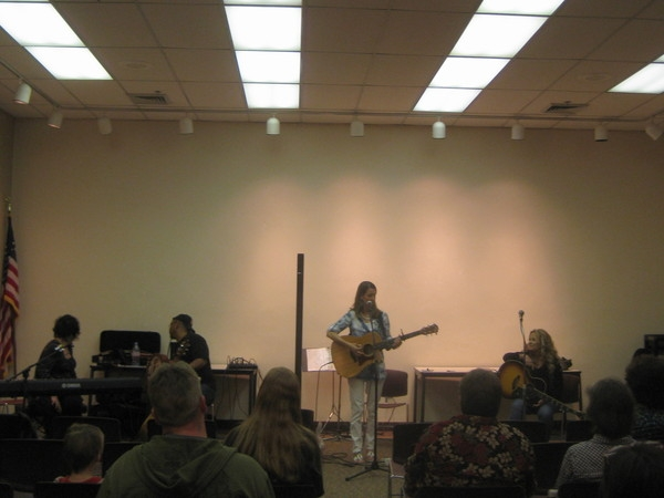 Jo Wymer, Norman Taylor, Me and Patty Blee at W. Deptford Library for Songwriters in the Round