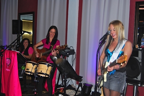 Gyrl Band Debut at Hamilton Manor on April 20th, 2012 Sandy Zio on piano, Me on guitar and bongos, Lisa Bouchelle on Bass and Guitar